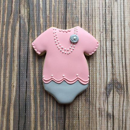 Baby Onesie Cookie Cutter - Decorated baby onesie cookie by Clough'D 9 Cookies
