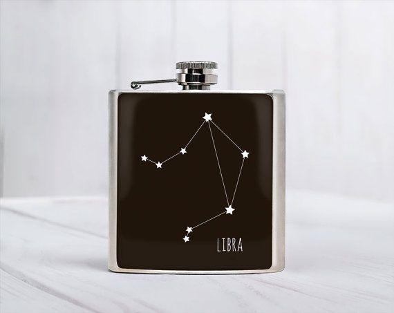 Balão Libra Constellation presente Aniversário de outubro Libra constelação de Libra Libra presente de aniversário Libra acessório aço inoxidável 6 oz