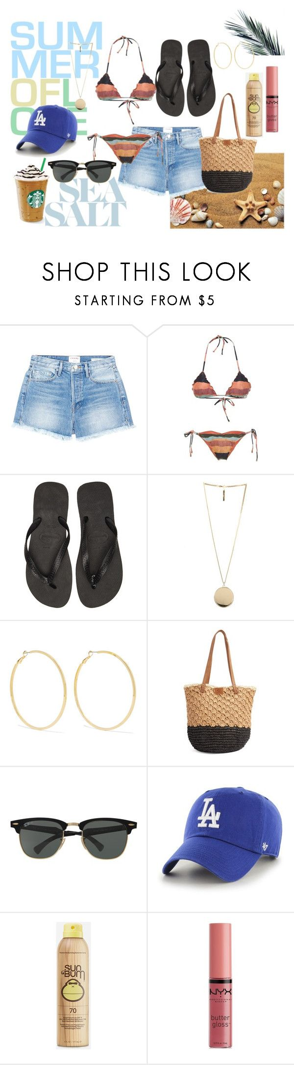 """""""17.13"""" by nicaa on Polyvore featuring moda, Frame, Havaianas, Givenchy, Kenneth Jay Lane, Rip Curl, Ray-Ban, '47 Brand, Sun Bum e NYX"""