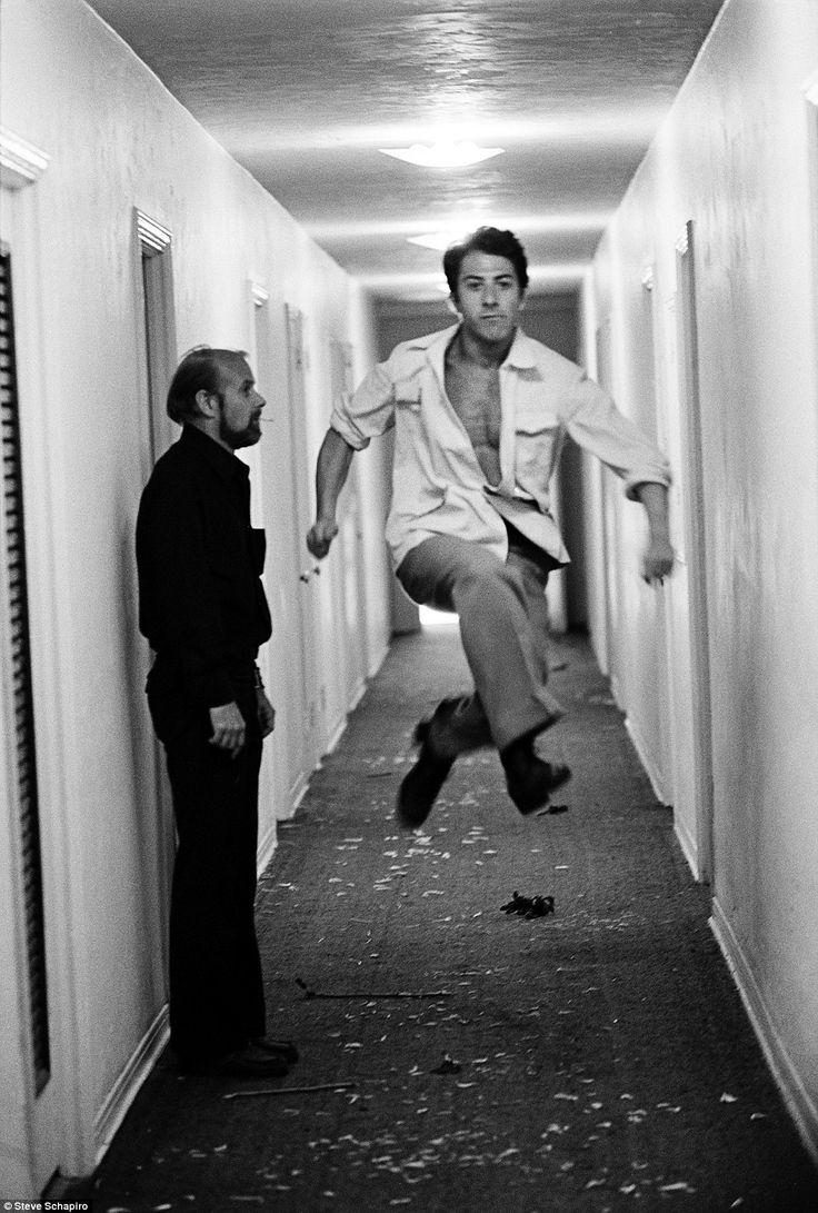 Hoff the ground: Actor Dustin Hoffman larks about, leaping around    Read more: http://www.dailymail.co.uk/news/article-2238463/Steve-Schapiro-book-The-stunning-collection-published-pictures-legendary-American-photographer-Steve-Schapiro.html#ixzz2DLvuQ8bo  Follow us: @MailOnline on Twitter | DailyMail on Facebook