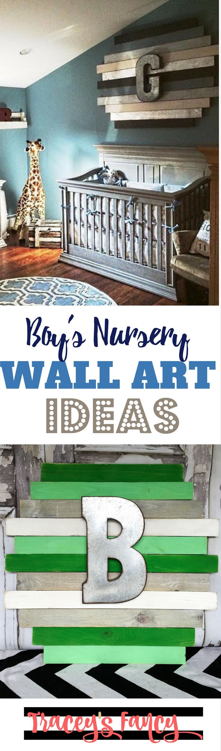 Wonderful Wall Art Ideas for a Boys Nursery | Tracey's Fancy | Painted Nursery Decor for boys