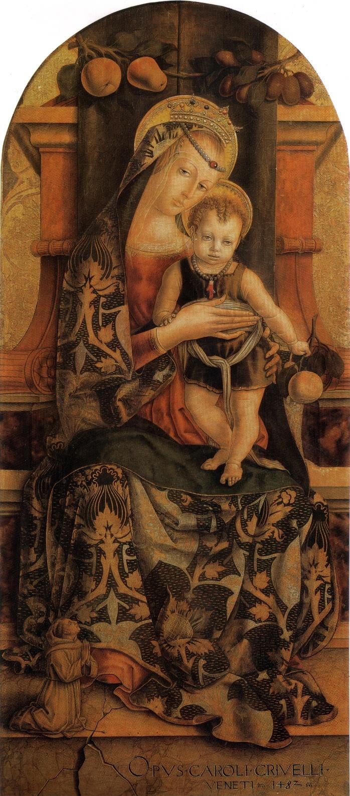 CARLO CRIVELLI (1435 – 1495) - Madonna col Bambino e Piccolo Frate Francescano Orante.
