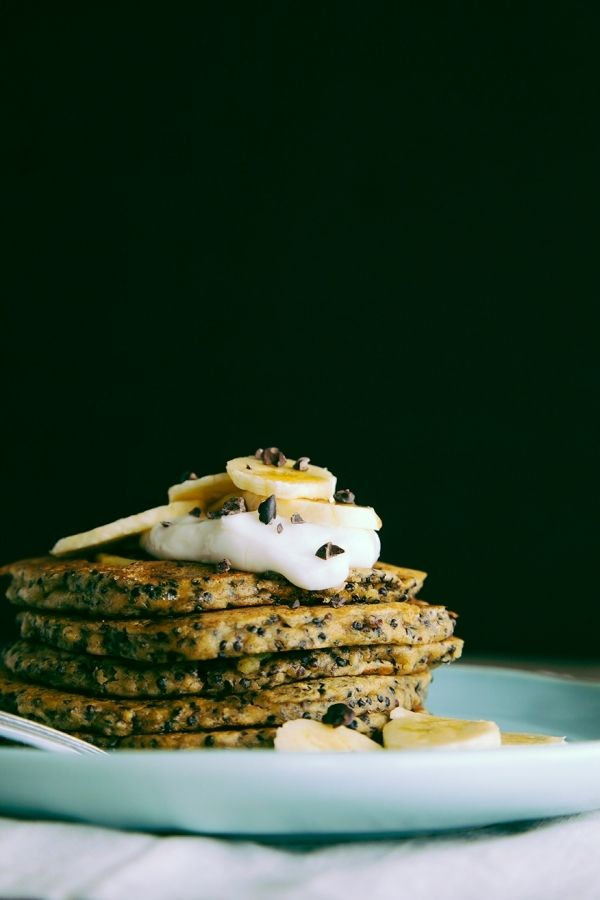 Coconut And Cacao Nibs Pancake Stack | Primal Breakfast & Breads | Pi ...