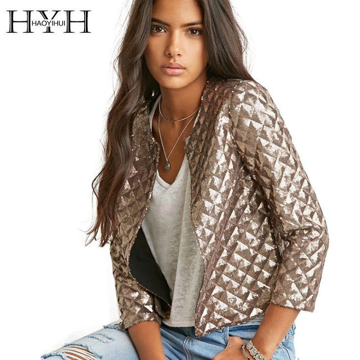 HYH HAOYIHUI 17 Brand New Spring Style Vogue Lozenge Women Gold Sequins Jackets Three quater sleeve Fashion Coats Outwears