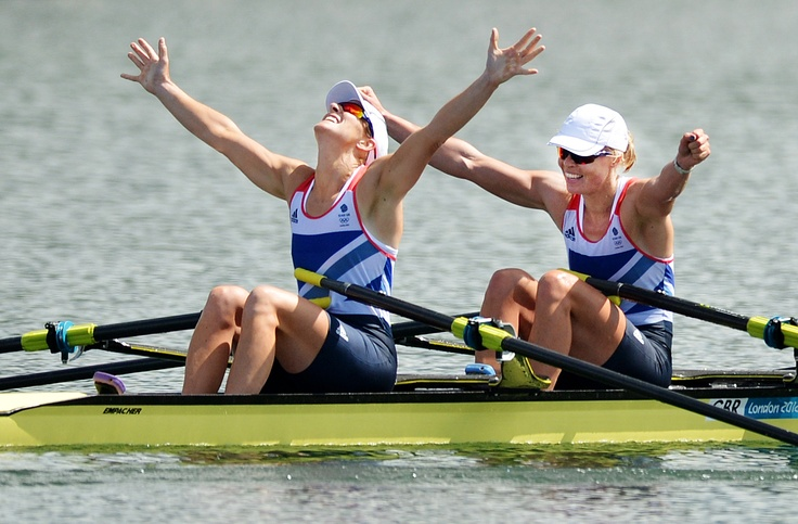 "Our Olympic picture of the day. Picture editor Jessica Mann says: ""This shows the excitement as Katherine Grainger (left) and Anna Watkins cross the line in the women's double sculls and get a gold medal for Great Britain."""