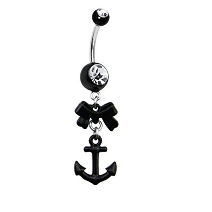 Crystalline Gem Black Bow Anchor Dangle Belly Ring