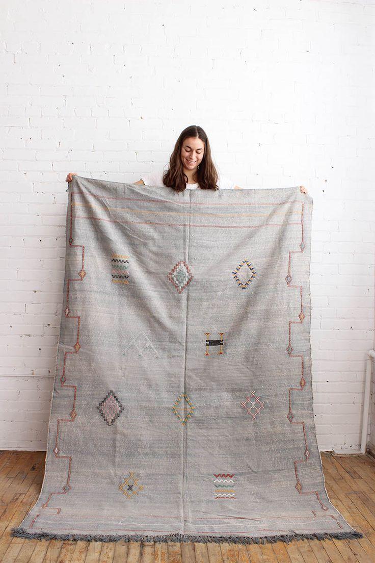 Blue Grey Area Rug | Handmade Kilim Carpet from Morocco | Cactus Silk Rug