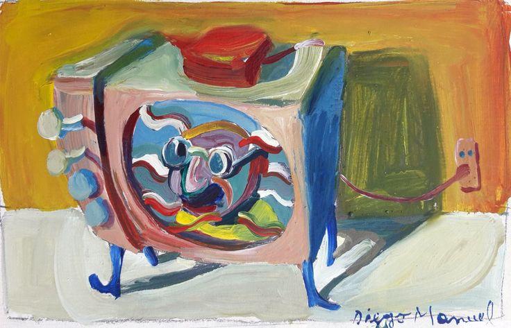 """""""TV por la tarde"""", gouache on paper, 26x 18 cm., 1998"""