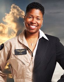 "Now here's a dynamic woman leader -- Vernice ""FlyGirl"" Armour, the first African-American female combat pilot in US military history. She is a third-generation Marine. She is speaking at Simmons College's Leadership Conference."