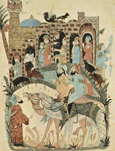 تصویری از نسخهی مصور مقامات حریری  سده هفتم هجری  به دست یحی بن محمودالواسطی نگارگر مکتب بغداد
