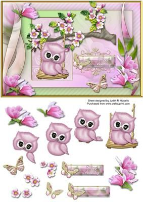 Cute Owl On A Swing Card Front on Craftsuprint designed by Judith Mary Howells - Sized to fit an A5 card an image of a really cute owl sitting on a swing hanging from a tree branch with butterflies and flowers. Decoupage pieces and a blank greeting plate for your own wording are included. - Now available for download!