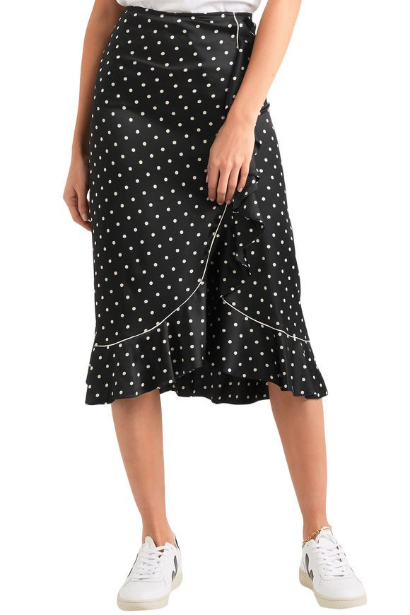 e97cd3fe8e63c2 GANNI Polka-dot ruffled silk-satin midi skirt ...