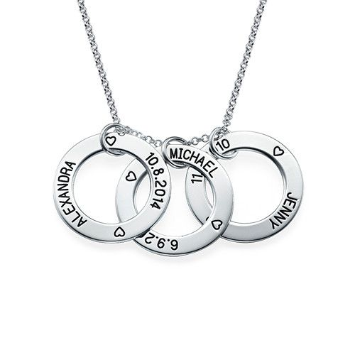 Family means everything to moms, which is why she will love to show it off with the Perfect Gift for Mom - Engraved Family Circle Necklace. Select up to three circle charms and engrave a name and a date on each charm. The engravings are separated by a heart. Moms will love showing off a mother necklace to others because they can show just how special their children are. This necklace is made out of 0.925 Sterling Silver and hangs on a Sterling Silver Rollo Chain. This necklace is also…