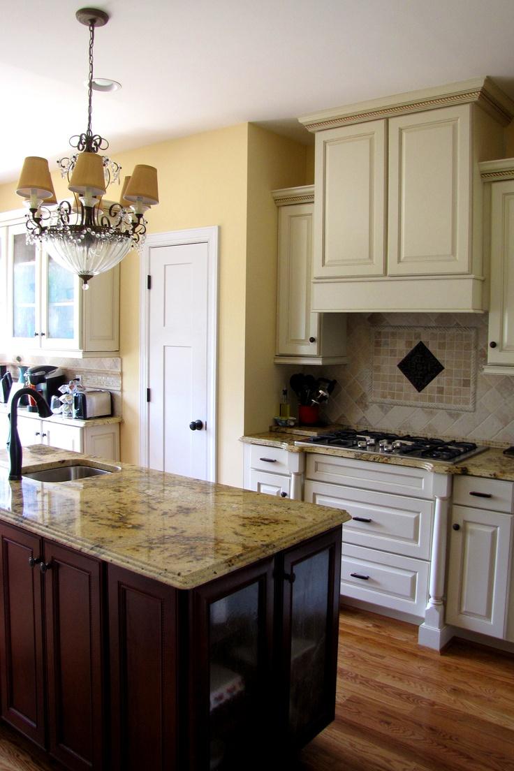 Lapidus premium product search marva marble and granite - Kitchen Lapidus Granite Travertine Tile Cream Cabinets With Chocolate Glaze And Rope