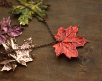 Real Canadian maple leaves earrings electroformed natural