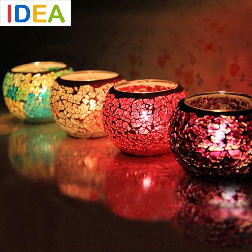 Ручной вотив мозаика Tealight стекла свечи фонарь держатель для бара кафе дата свадьбы ужин украшения дома(China (Mainland))