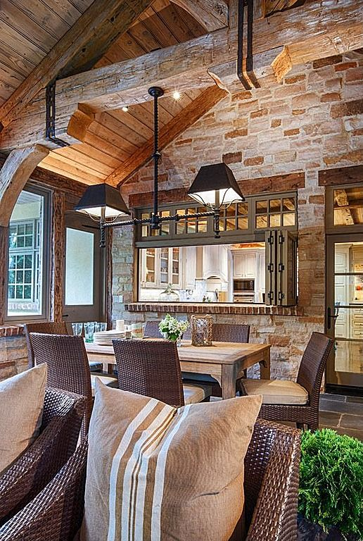 Brown hues throughout this country cabin breathe a rustic warmth within.