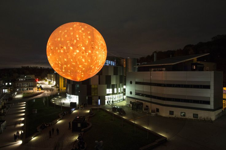 Solar Equation by Rafael Lozano-Hermes is a faithful simulation of the Sun, 100 million times smaller than the real thing. The Sun came to illuminate Durham winter nights. Photograph Matthew Andrews