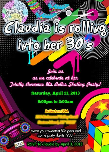 Roller Skating 80s Birthday Party Invitation