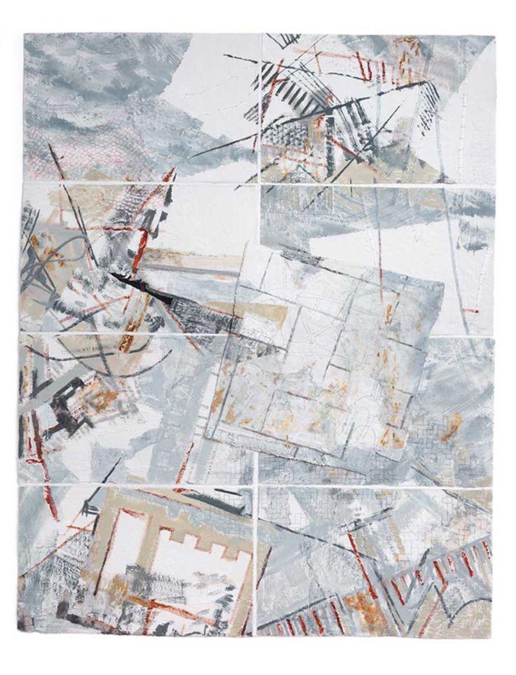 Jae Maries:  TURBULENT SEAS   Painted, printed, stitched panels. Dimensions : H104 x W109 x D2cms.
