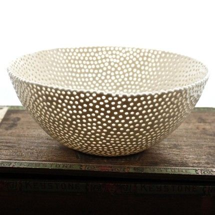 isabelle abramson | white porcelain berry bowl: porcelain w/ individually drilled holes - wow!