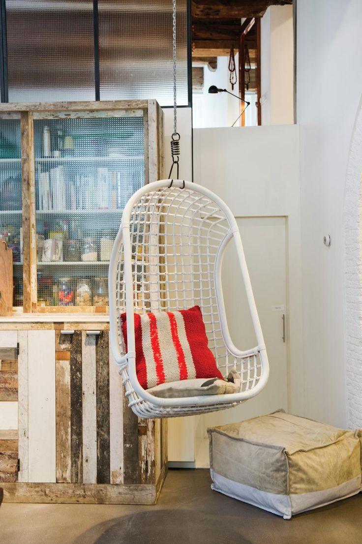 Hangstoel - Wit - Rotan - HK Living kopen? - Woonwebwinkel LiL.nl