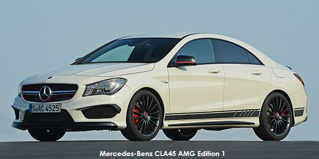 Mercedes-Benz CLA CLA45 AMG Edition 1   price : R754,017.00  Engine size : 2.0L Turbo Fuel type : Petrol Fuel tank range average : 786km Fuel tank capacity including reserve : 56L Max top speed : 250km/h 0-100km/h : 4.6seconds Gearbox : Auto