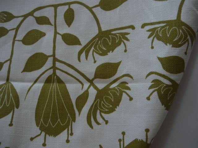 Maradadhi Textiles Protea.  Vine Green onto white cotton