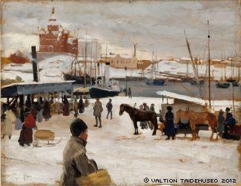 Albert Edelfelt - Winter Day at Market Square, study - Talvipäivä kauppatorilla, harjoitelma, 1889