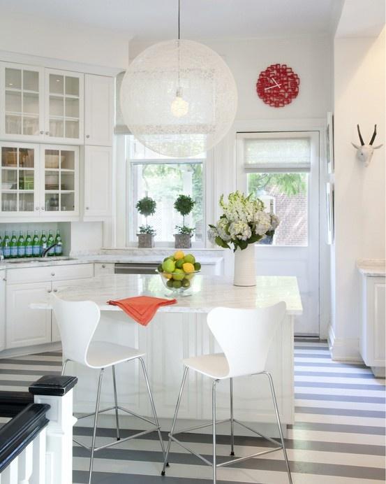 Colors: Dreams Kitchens, Lights Fixtures, Stripes Floors, Marika Meyer, Interiors Design, Kitchens Pendants, Stripes Kitchens, Pendants Lights, Paintings Floors