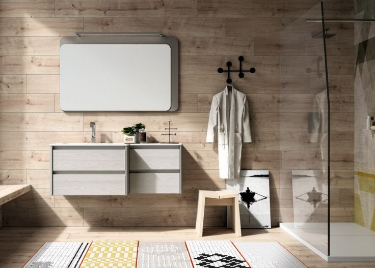 The wooden wall gives yout #bathroom a kind of #scandy style! #bathdesign #design #MastellaDesign #furniture #wood #wooden #hpl #interiors #decor #interiordesign
