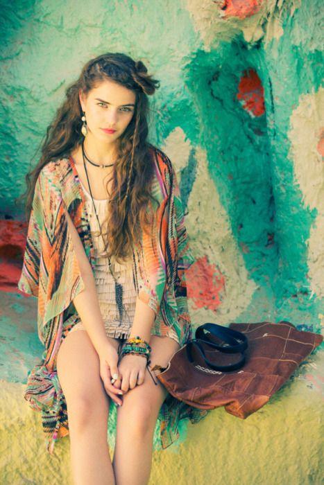 //Boho Chic, Kimonos Style, Bohemian Fashion, Festivals Style, Gypsy Style, Colors, Painting Pattern, Bohemian Style, Bohochic