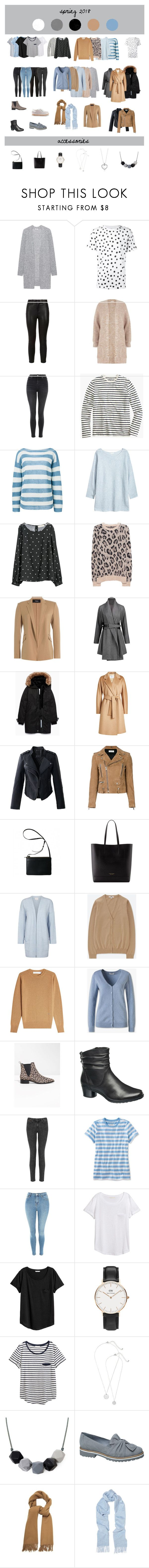 Spring Capsule Wardrobe 2018 by tanja-rode on Polyvore featuring мода, Victoria Beckham, Noted*, Acne Studios, Uniqlo, R13, River Island, Ermanno Scervino, Stampd and L.L.Bean