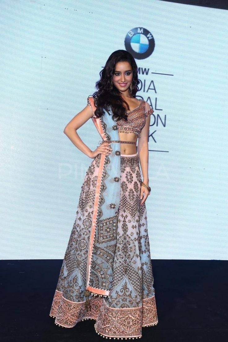Shraddha Kapoor in beautiful multi-color embroidered JJ http://www.Valaya.com/index.htm Lehenga at BMW India Bridal Fashion Week 2014 announcement | PINKVILLA