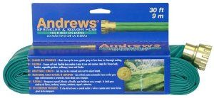 Andrews 30-Foot 2 Tube Sprinkler Hose 10-12346 by Andrews. $11.91. Measures 30-foot; carded. Tough, durable vinyl construction. Flexible uniquely soft, lightweight; lays flat and will not flip over. Andrews 30-foot 2 tube sprinkler hose. Opaque green color. Amazon.com                Made of durable yet flexible vinyl, the two-tube sprinkler is easy to contour around garden beds and varied terrain. The end clip can be removed and reset, allowing you to adjust the hose leng...