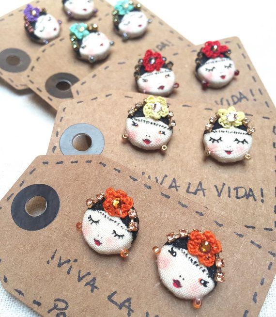 Earrings by lobo Viva La Vida Frida Kahlo by PoudreRose on Etsy