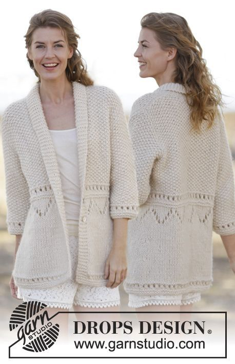 """Knitted DROPS jacket in seed st with lace pattern and shawl collar in """"Cloud"""". Size: S - XXXL. ~ DROPS Design"""