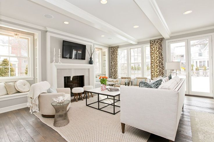 Benjamin Moore Moonshine for a Transitional Living Room with a Open and Modern…