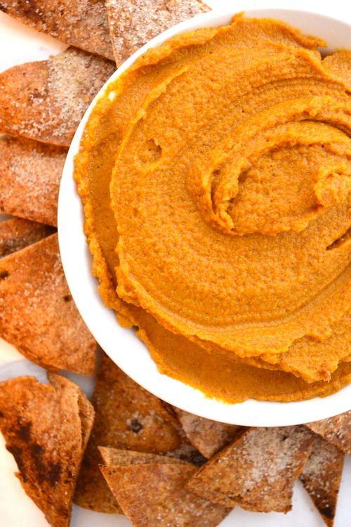 Pumpkin Maple Hummus & Cinnamon Sugar Chips | The Collegiate Vegan