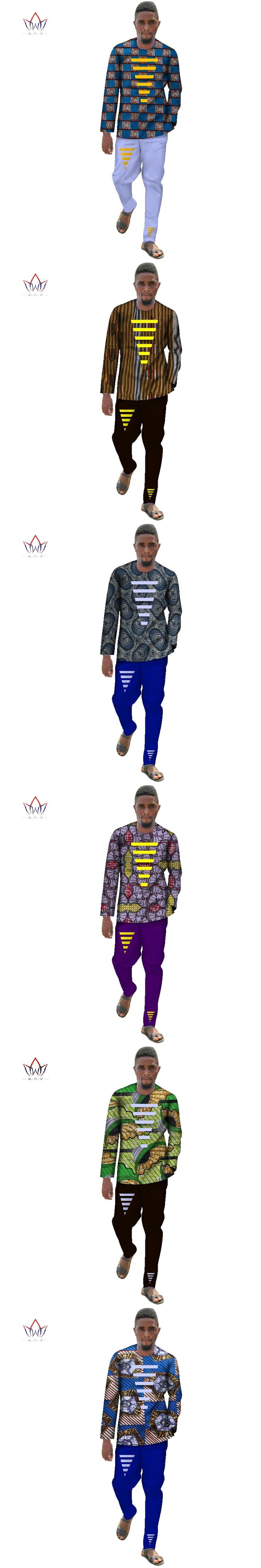 African Clothing for Men Dashiki Sets Men Long Sleeve Shirts and Long Pants Slim Fit Two Pieces Set for Men Plus Size 6XL WYN348
