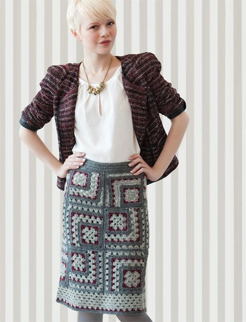 This granny square skirt might inspire me to learn how to crochet again.