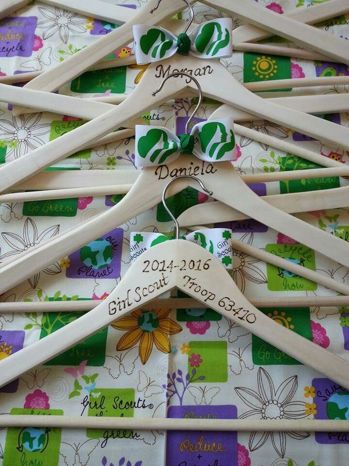 Girl scout hanger to hang up old vest on after bridging to next level