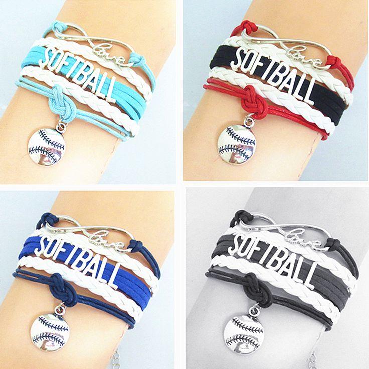 custom name colors Softball charms Wrap Bracelet Softball Team Bracelet cuff