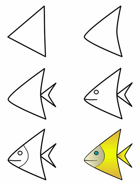 Hayvan resimleri nasıl çizilir fish triangles and cartoon