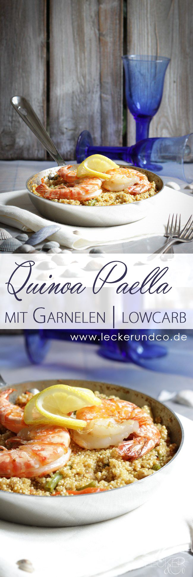 Quinoa Paella mit Garnelen und Schweinefilet