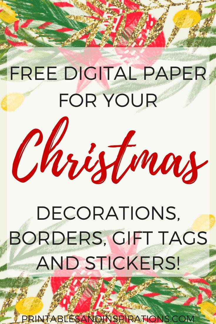 Christmas decorations borders - Free Digital Paper For Christmas Decorations Gift Tags And Stickers