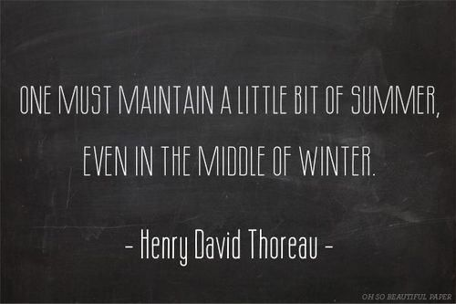 One my maintain a little bit of summer, even in the middle of winter. ~Henry David Thoreau #quote