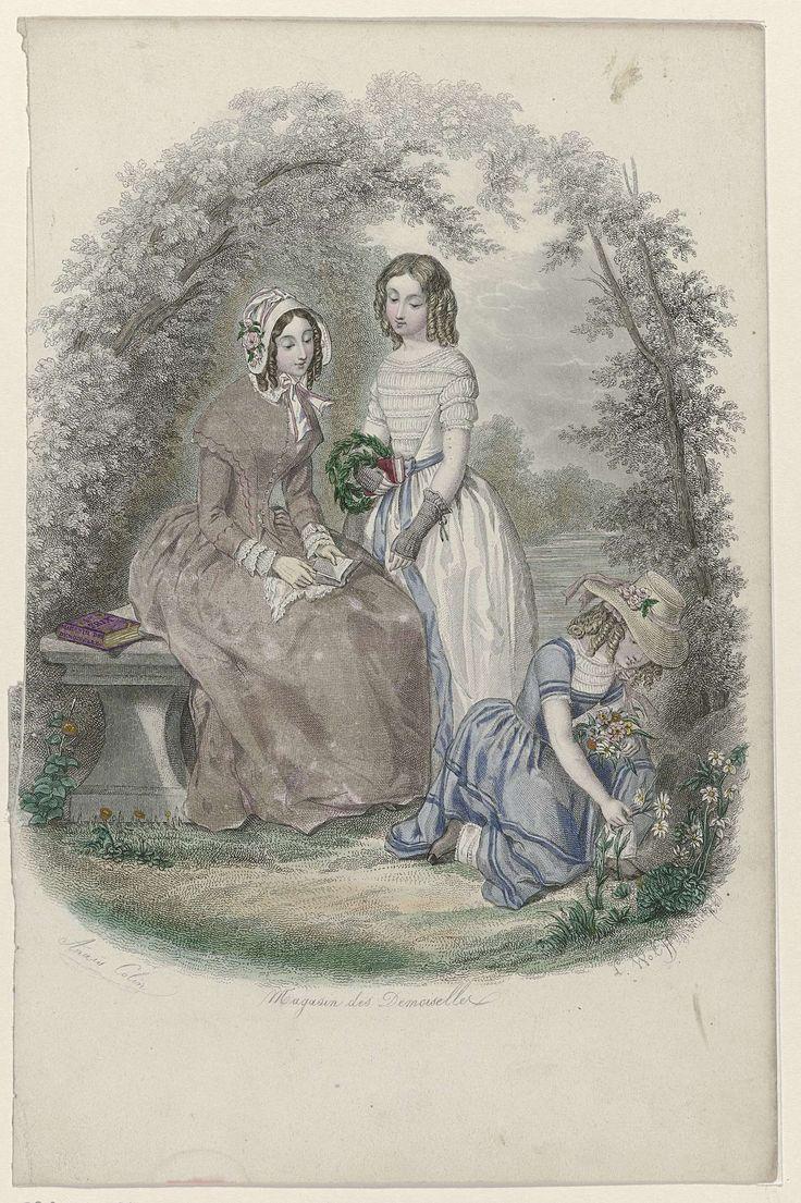 L. Wolff | Magasin des Demoiselles, 1845, L. Wolff, 1845 | Vrouw, zittend op een bankje, met twee meisjes van wie er één bloemen aan het plukken is. Naast haar ligt het tijdschrift 'Magasin des Demoiselles'. De vrouw draagt een hooggesloten japon met driekwart mouwen en geplooide ondermouwen. Op het hoofd een luifelhoed versierd met bloemen. De twee meisjes dragen japonnen met korte mouwen, van wie één met gestrikt ceintuur. Onder de voorstelling enkele regels informatie over het…