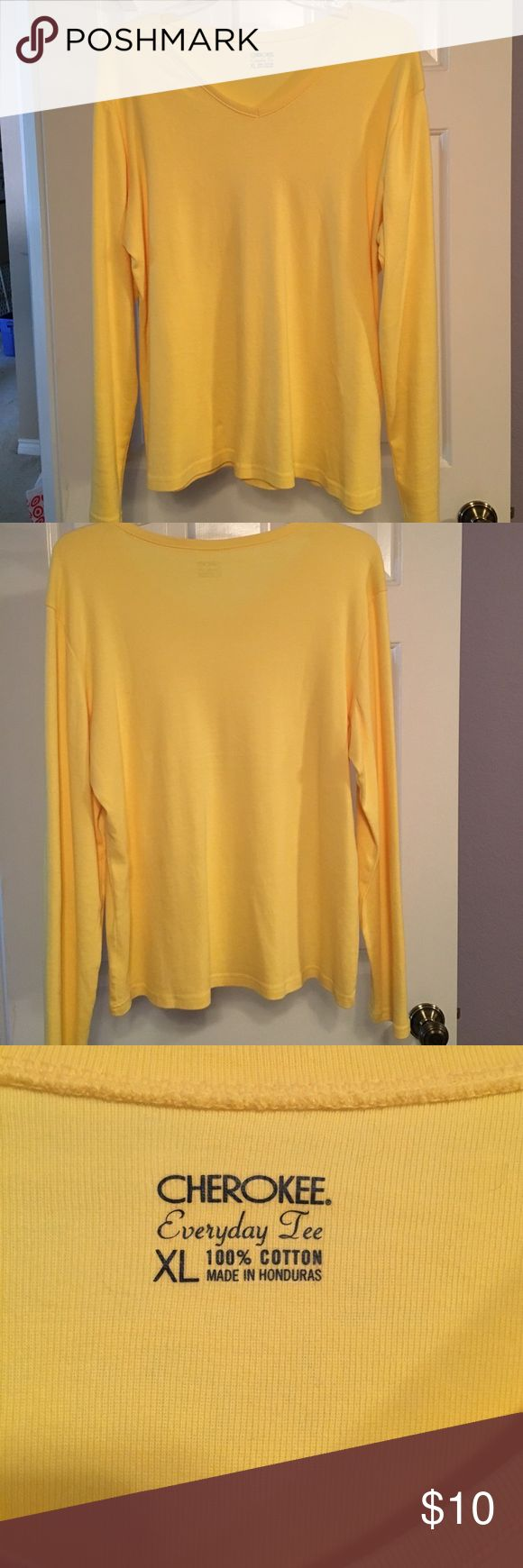 💥FINAL💥-Cherokee brand long sleeve yellow tee 💥LOWEST FINAL PRICE💥 - Cherokee brand long sleeve yellow v-neck tee shirt. NWOT. 100% cotton. Removed tags to wear & it was too big. Non smoking environment. Pet friendly household. Cherokee Tops Tees - Long Sleeve