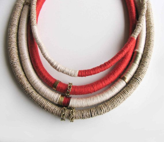 Boho Yarn Necklace, Charm layered Necklace, Tribal Wrapped rope Necklace, Statement Necklace in coral red, ecru, taupe, With metal findings